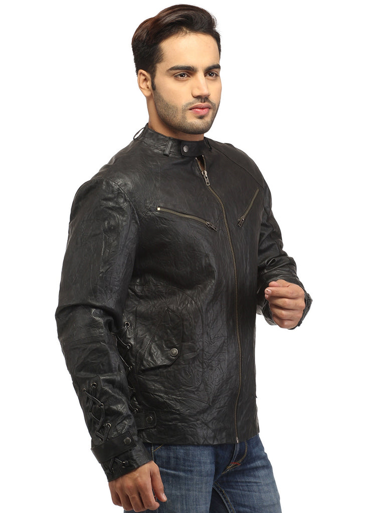 Men Vintage Crinkled Leather Biker Jacket with Dori Weave , Men Jacket - CrabRocks, LeatherfashionOnline  - 3