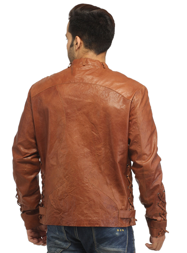 Men Vintage Crinkled Leather Biker Jacket with Dori Weave , Men Jacket - CrabRocks, LeatherfashionOnline  - 6