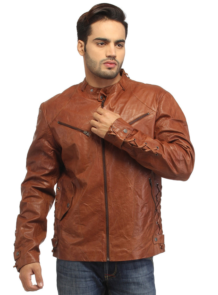 Men Vintage Crinkled Leather Biker Jacket with Dori Weave , Men Jacket - CrabRocks, LeatherfashionOnline  - 2