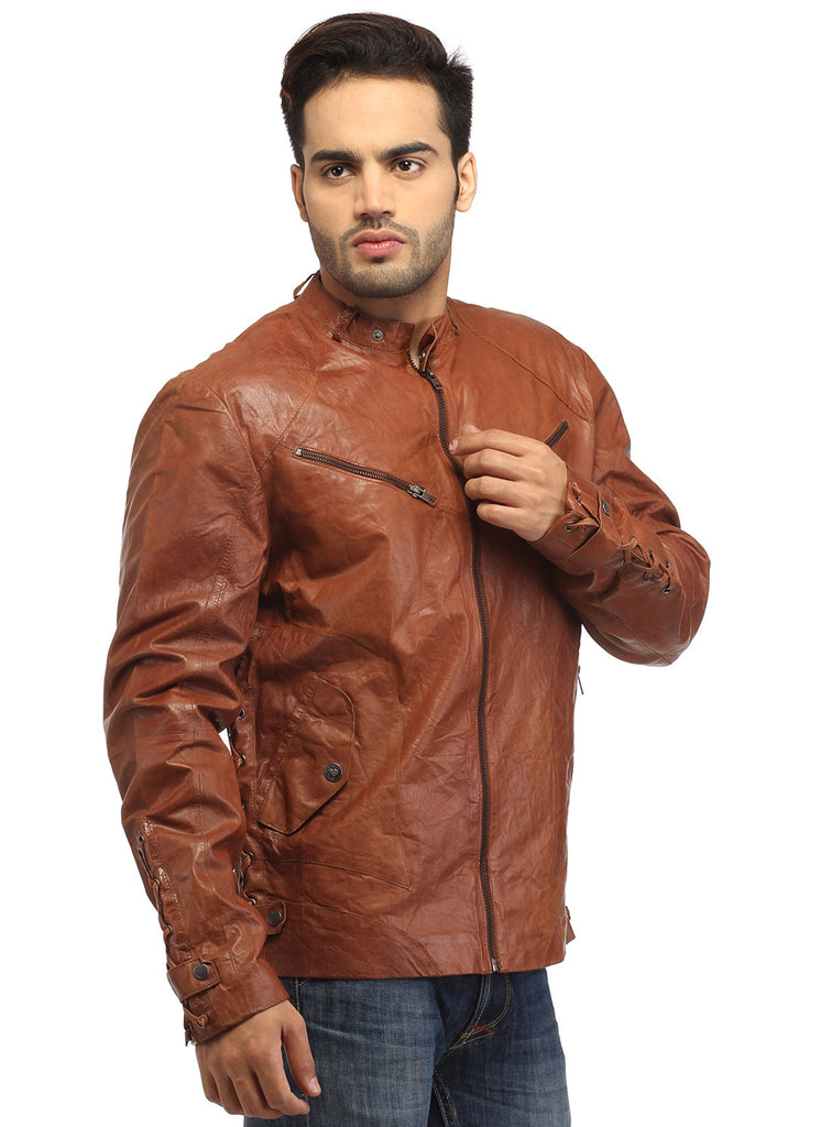 Men Vintage Crinkled Leather Biker Jacket with Dori Weave S / Leather / Tan, Men Jacket - CrabRocks, LeatherfashionOnline  - 4