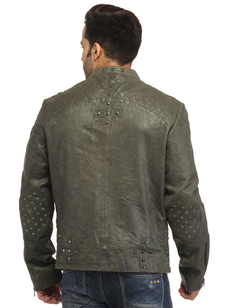 Men's Leather Washed Vintage Studded Rugged Jacket , Men Jacket - CrabRocks, LeatherfashionOnline  - 3