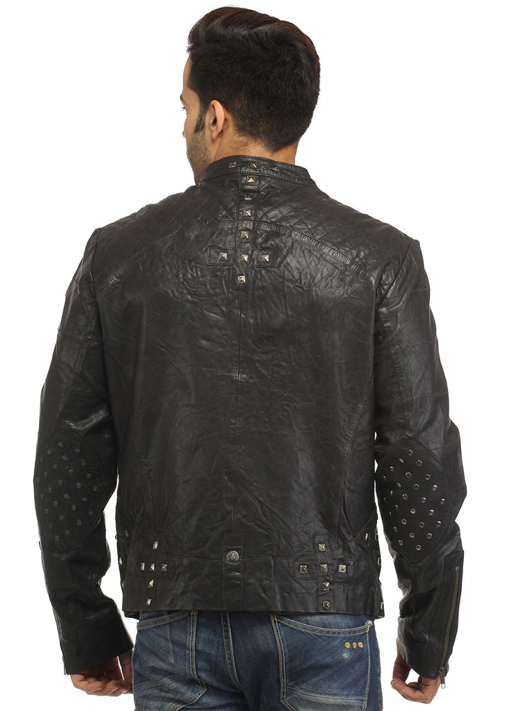 Men's Leather Washed Vintage Studded Rugged Jacket , Men Jacket - CrabRocks, LeatherfashionOnline  - 6