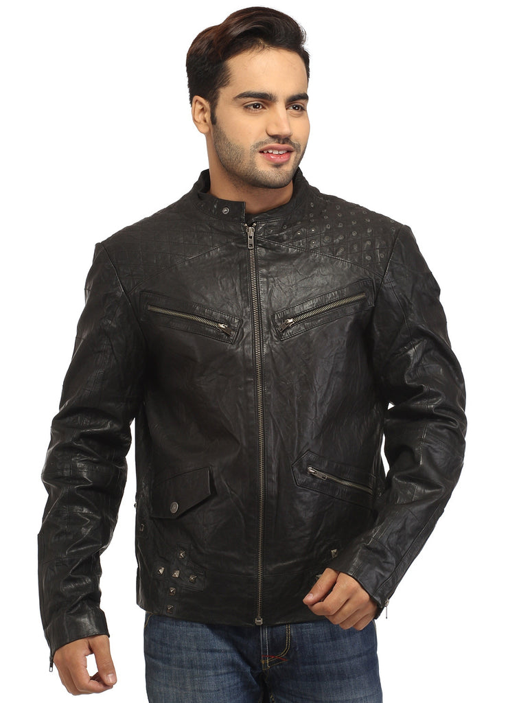 Men's Leather Washed Vintage Studded Rugged Jacket , Men Jacket - CrabRocks, LeatherfashionOnline  - 4