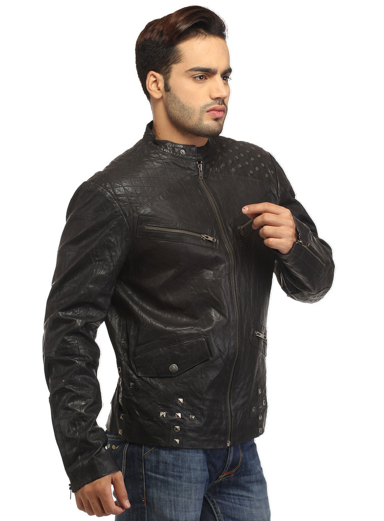 Men's Leather Washed Vintage Studded Rugged Jacket S / Leather / Black, Men Jacket - CrabRocks, LeatherfashionOnline  - 5