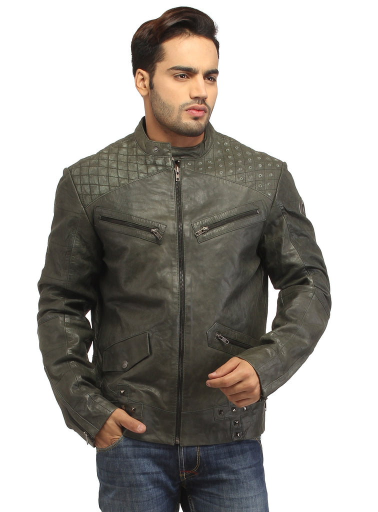 Men's Leather Washed Vintage Studded Rugged Jacket S / Leather / Dust, Men Jacket - CrabRocks, LeatherfashionOnline  - 1
