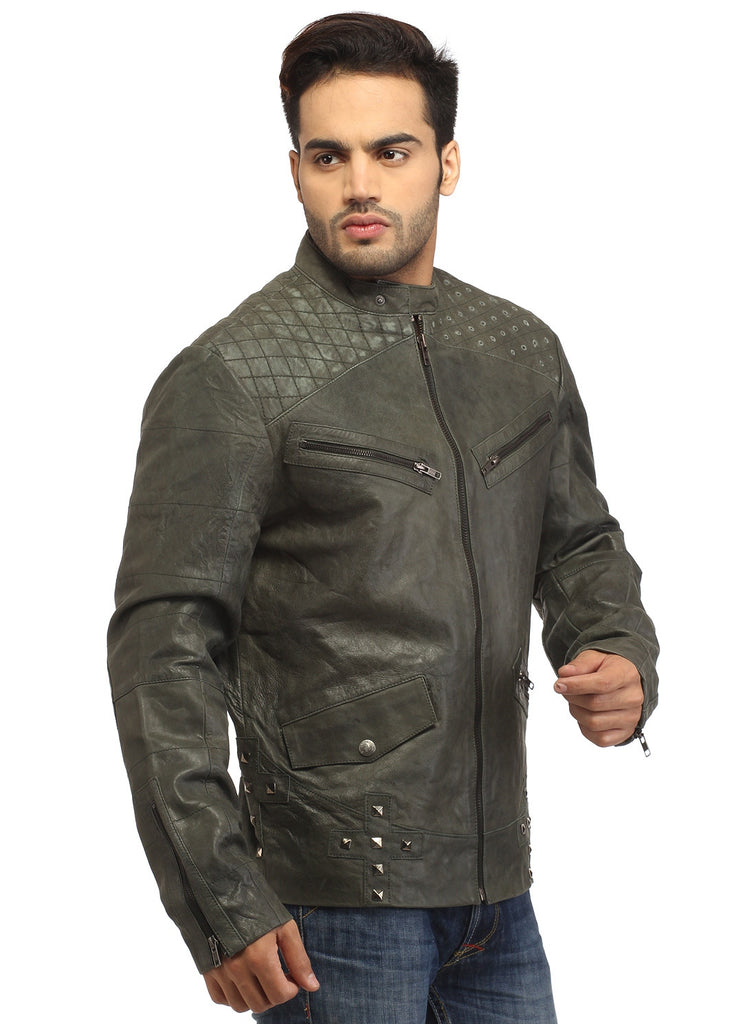 Men's Leather Washed Vintage Studded Rugged Jacket , Men Jacket - CrabRocks, LeatherfashionOnline  - 2