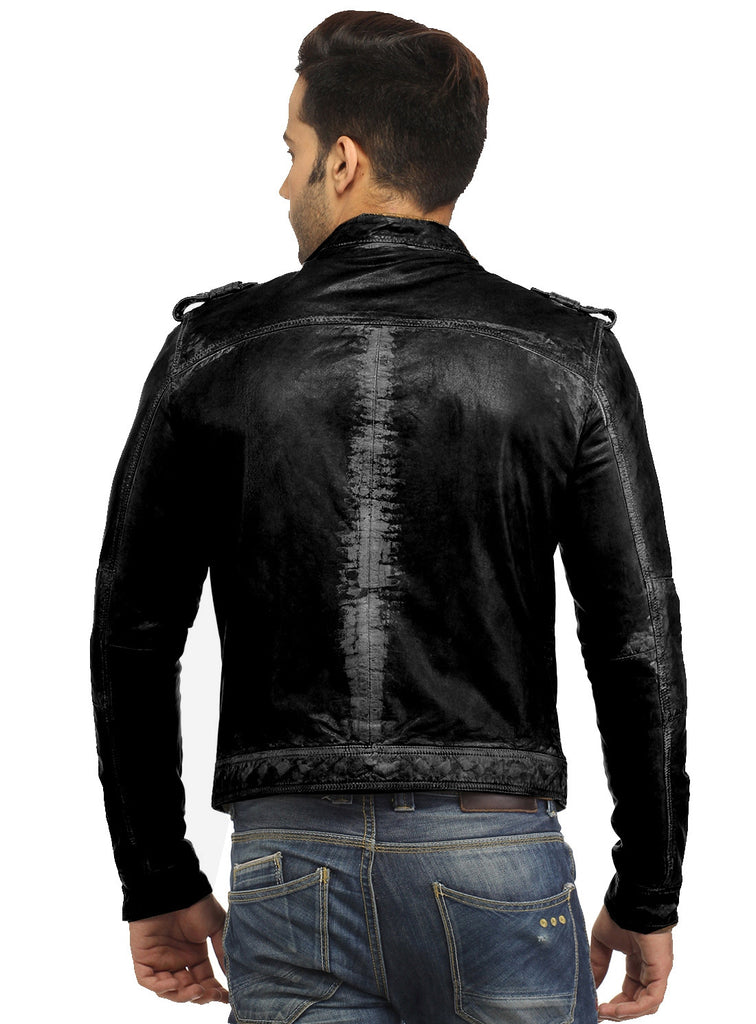 Men's Casual Abstract Batik Wash Short Leather Jacket , Men Jacket - CrabRocks, LeatherfashionOnline  - 7