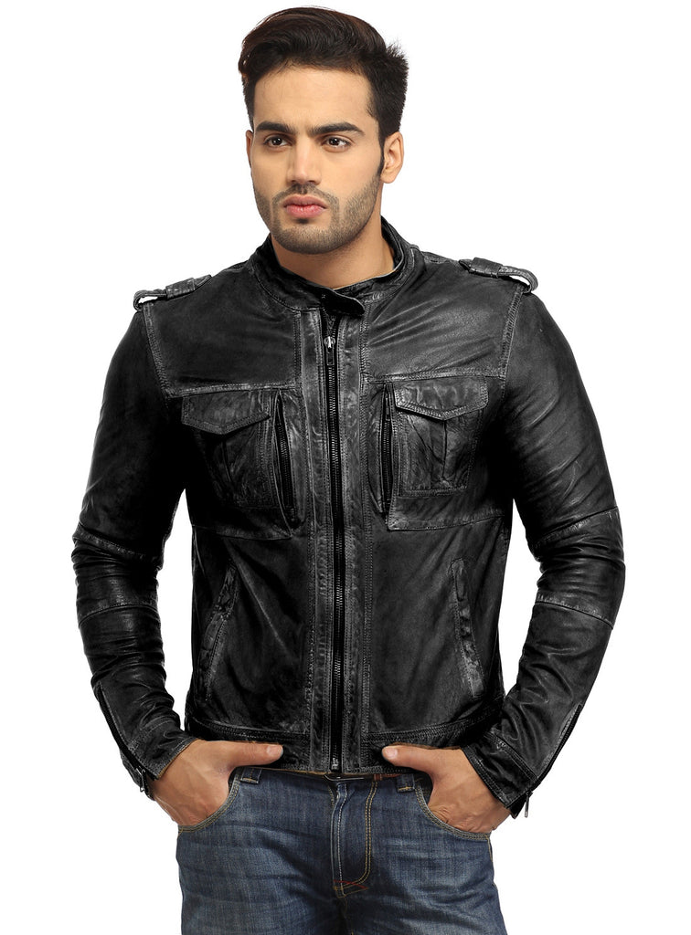 Men's Casual Abstract Batik Wash Short Leather Jacket S / Leather / Black, Men Jacket - CrabRocks, LeatherfashionOnline  - 2