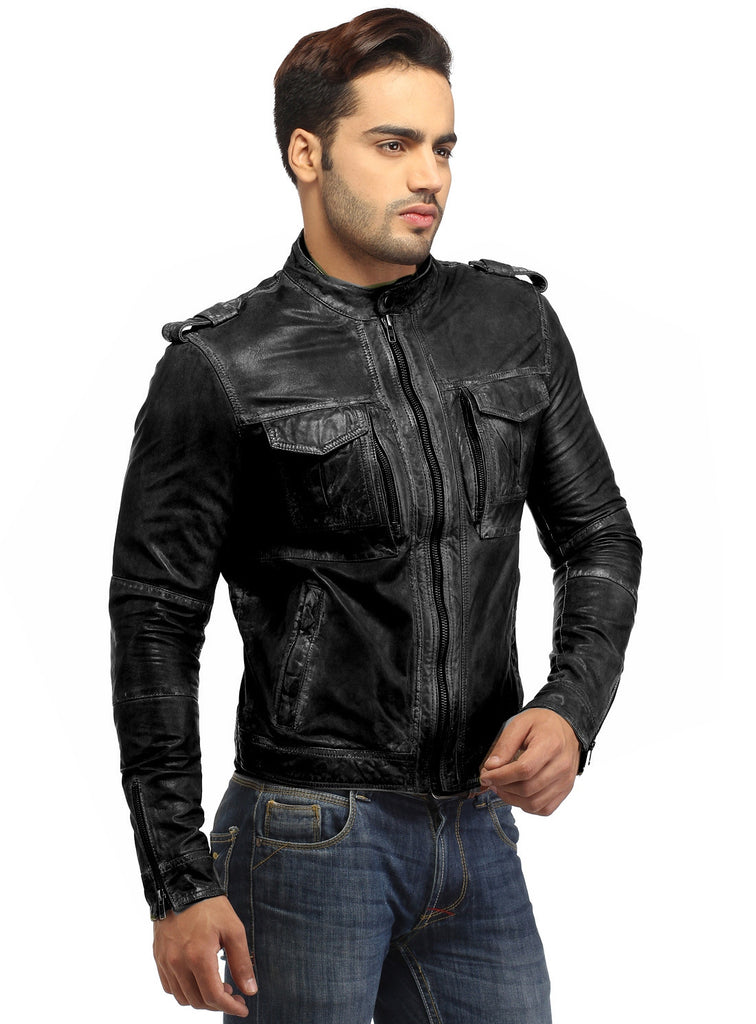 Men's Casual Abstract Batik Wash Short Leather Jacket , Men Jacket - CrabRocks, LeatherfashionOnline  - 4