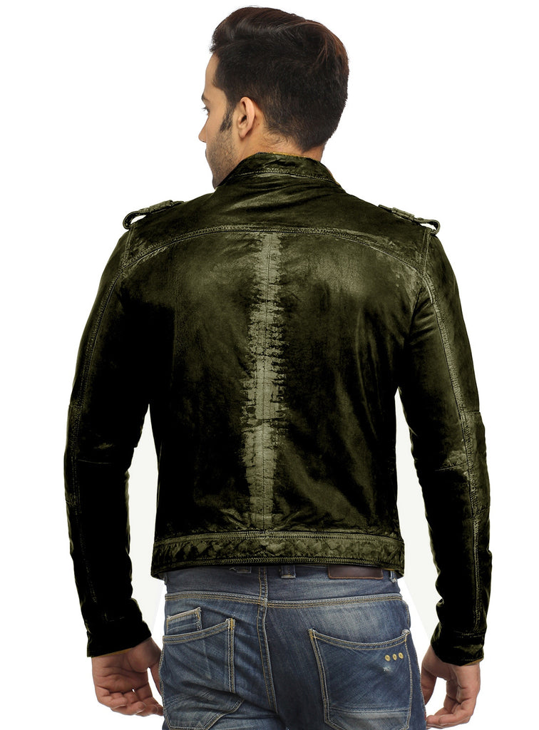 Men's Casual Abstract Batik Wash Short Leather Jacket , Men Jacket - CrabRocks, LeatherfashionOnline  - 8