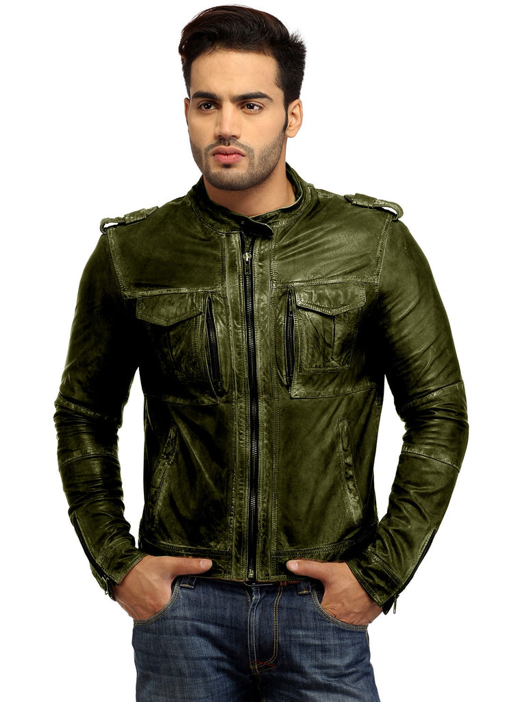 Men's Casual Abstract Batik Wash Short Leather Jacket S / Leather / Olive, Men Jacket - CrabRocks, LeatherfashionOnline  - 3