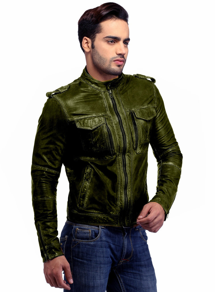 Men's Casual Abstract Batik Wash Short Leather Jacket , Men Jacket - CrabRocks, LeatherfashionOnline  - 5