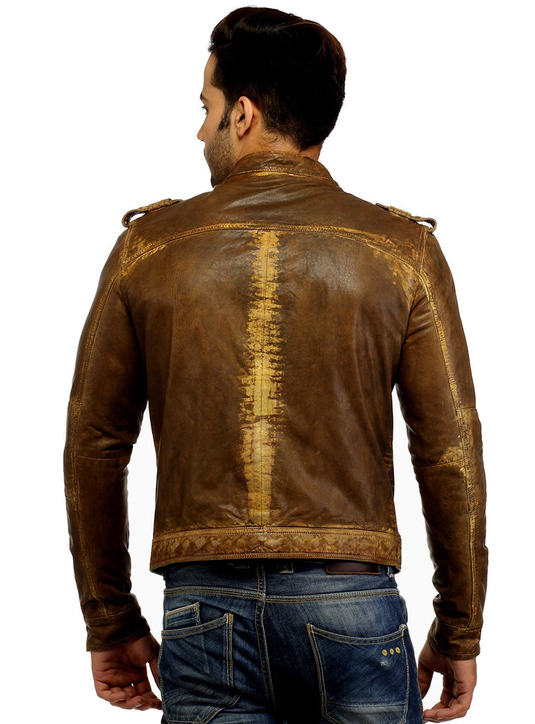 Men's Casual Abstract Batik Wash Short Leather Jacket , Men Jacket - CrabRocks, LeatherfashionOnline  - 9