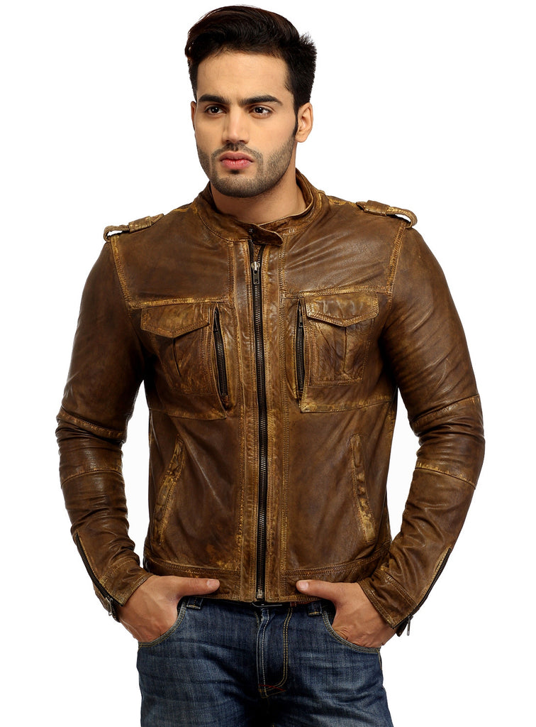 Men's Casual Abstract Batik Wash Short Leather Jacket S / Leather / Tan, Men Jacket - CrabRocks, LeatherfashionOnline  - 1
