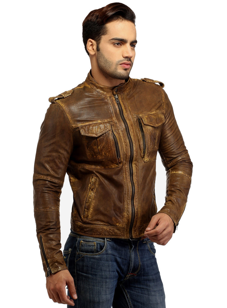 Men's Casual Abstract Batik Wash Short Leather Jacket , Men Jacket - CrabRocks, LeatherfashionOnline  - 6
