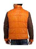 Alaska F-  Best Seller Men Leather Puffer Jacket with fabric Sleeve