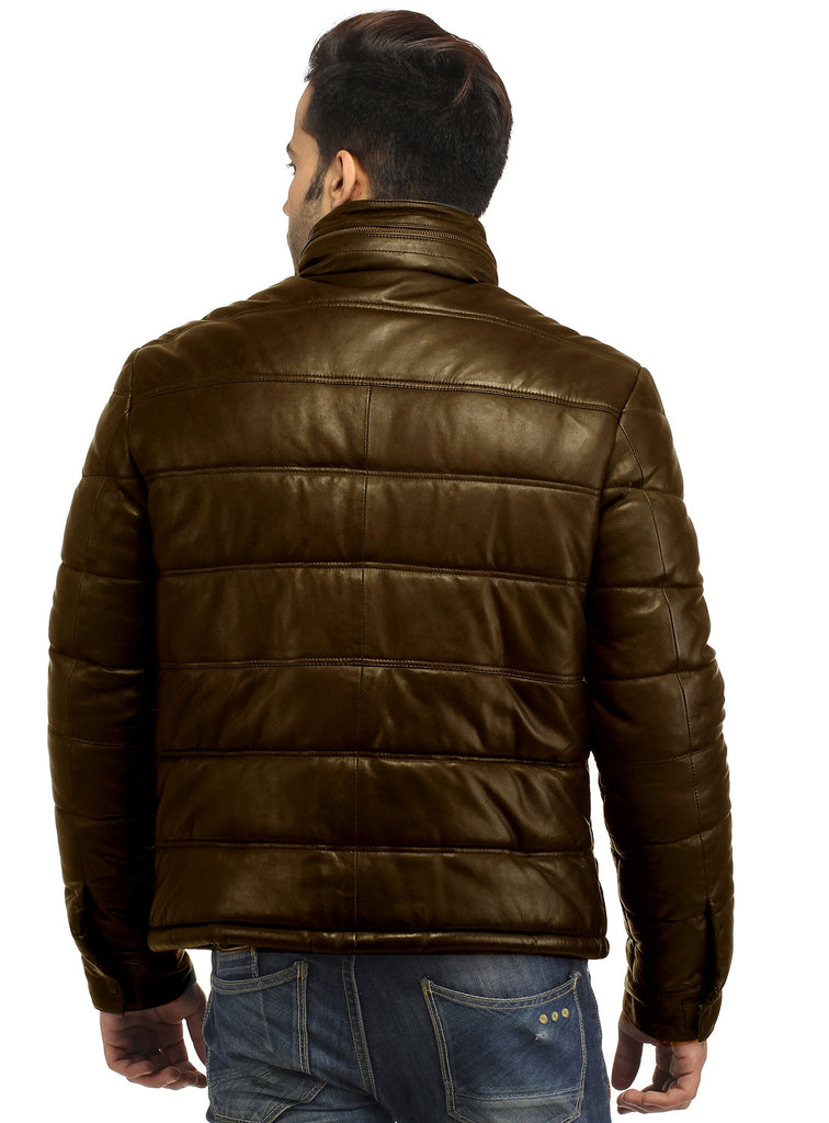 CrabRocks Best Seller Men's Real Soft Lamb Leather Puffer Jacket , Men Jacket - CrabRocks, LeatherfashionOnline  - 6