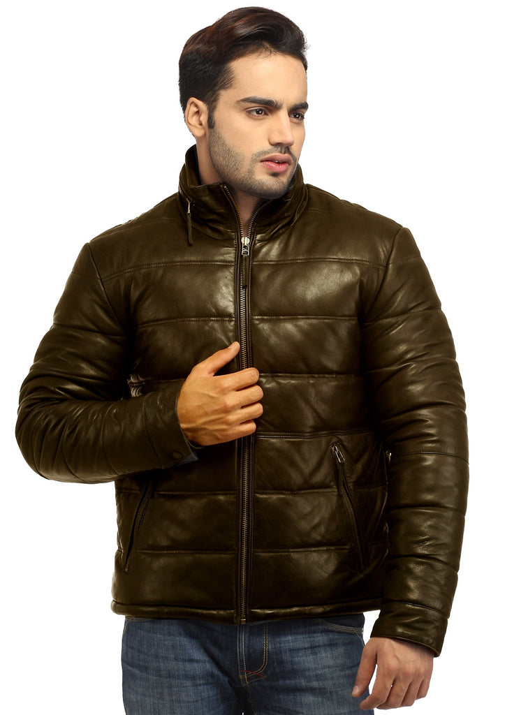 CrabRocks Best Seller Men's Real Soft Lamb Leather Puffer Jacket , Men Jacket - CrabRocks, LeatherfashionOnline  - 4