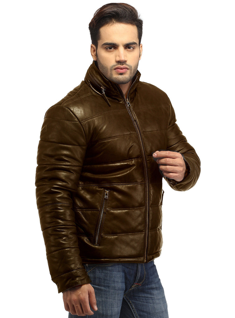 CrabRocks Best Seller Men's Real Soft Lamb Leather Puffer Jacket Brown / S / Leather, Men Jacket - CrabRocks, LeatherfashionOnline  - 5
