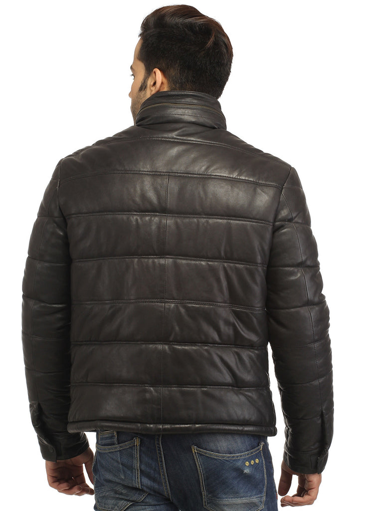CrabRocks Best Seller Men's Real Soft Lamb Leather Puffer Jacket , Men Jacket - CrabRocks, LeatherfashionOnline  - 3