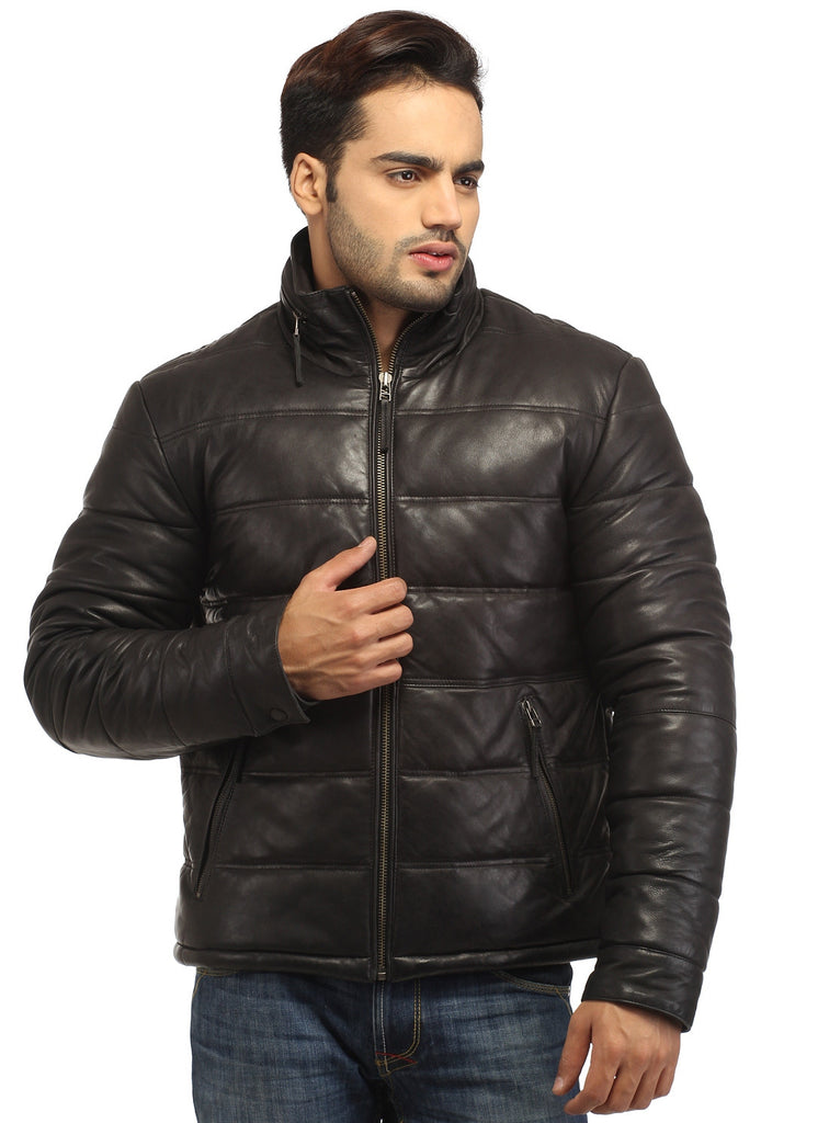 CrabRocks Best Seller Men's Real Soft Lamb Leather Puffer Jacket Black / S / Leather, Men Jacket - CrabRocks, LeatherfashionOnline  - 1