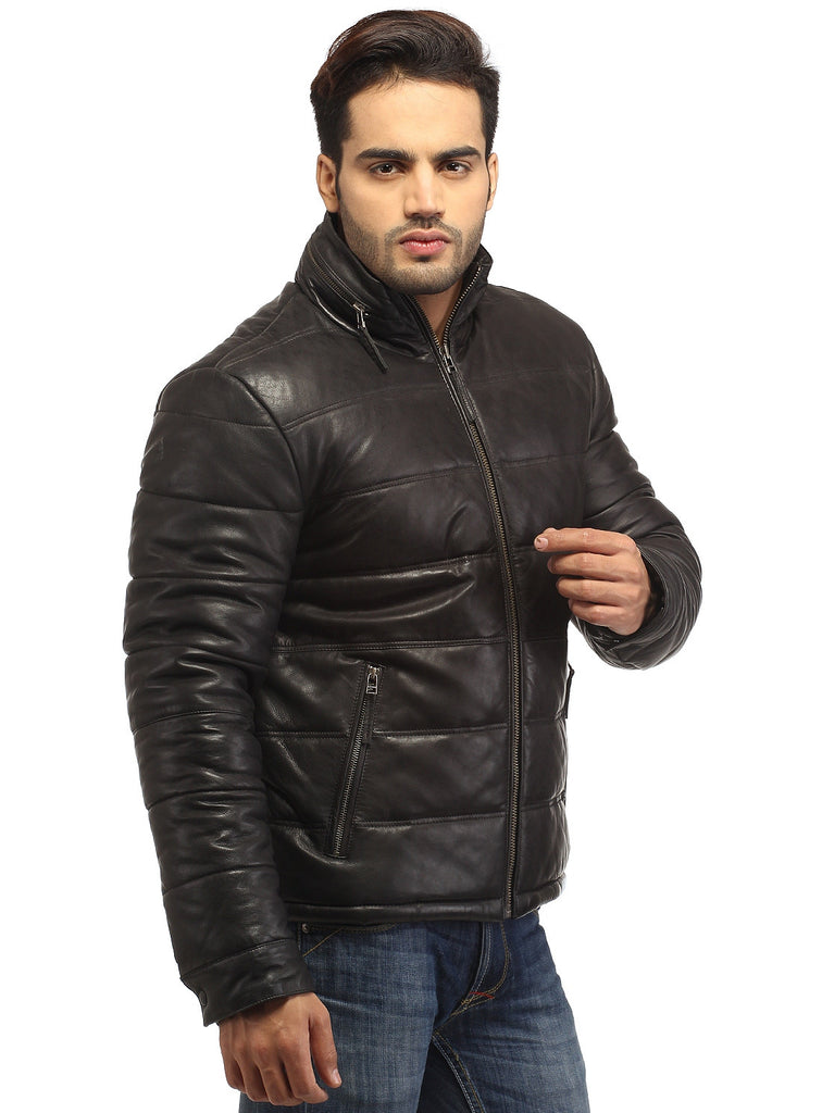 CrabRocks Best Seller Men's Real Soft Lamb Leather Puffer Jacket , Men Jacket - CrabRocks, LeatherfashionOnline  - 2