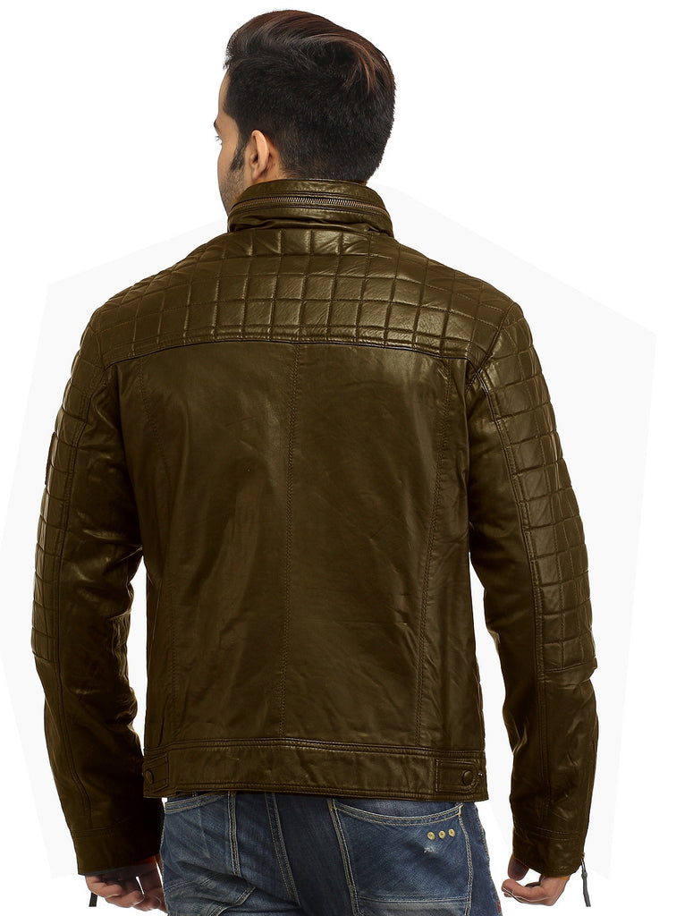 Sporty Boxy Quilted Casual  Men Leather Jacket , Men Jacket - CrabRocks, LeatherfashionOnline  - 5