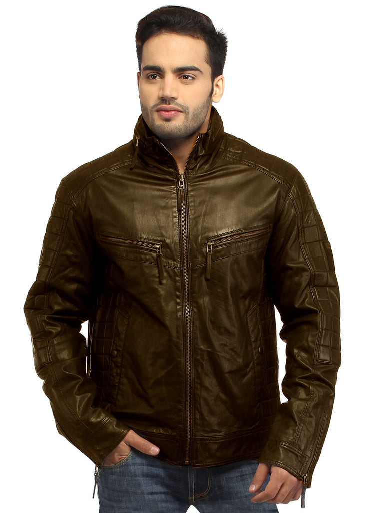 Sporty Boxy Quilted Casual  Men Leather Jacket S / Leather / Brown, Men Jacket - CrabRocks, LeatherfashionOnline  - 1