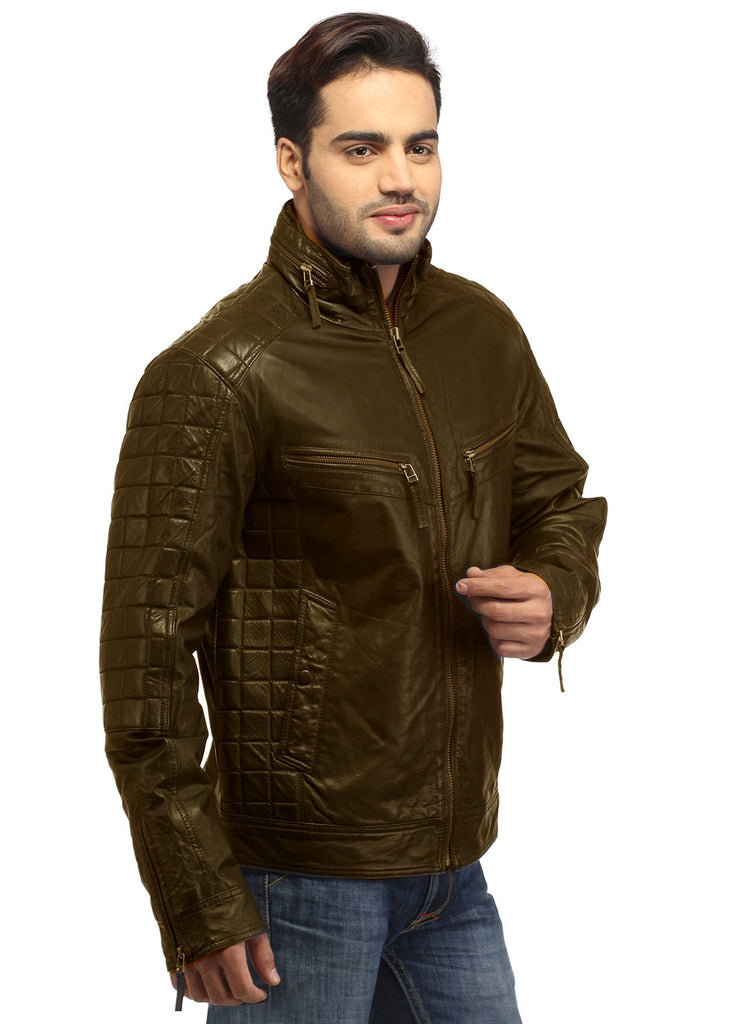 Sporty Boxy Quilted Casual  Men Leather Jacket , Men Jacket - CrabRocks, LeatherfashionOnline  - 3
