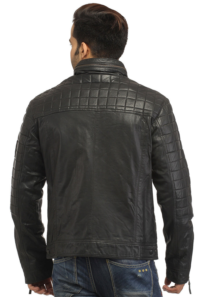 Sporty Boxy Quilted Casual  Men Leather Jacket , Men Jacket - CrabRocks, LeatherfashionOnline  - 6