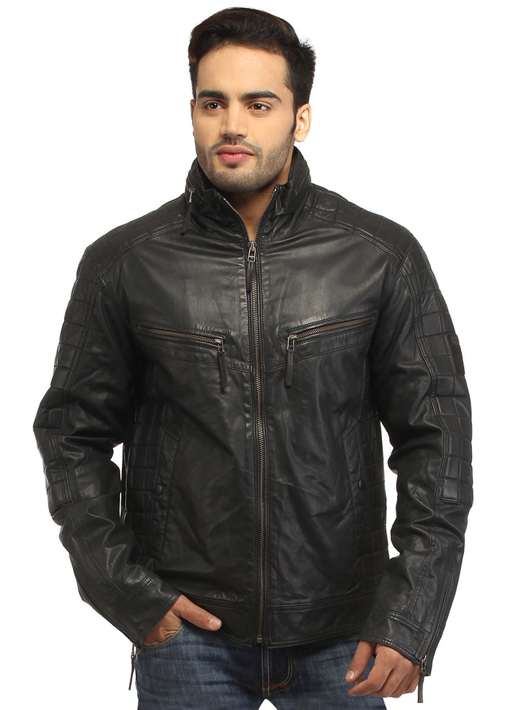 Sporty Boxy Quilted Casual  Men Leather Jacket S / Leather / Black, Men Jacket - CrabRocks, LeatherfashionOnline  - 2