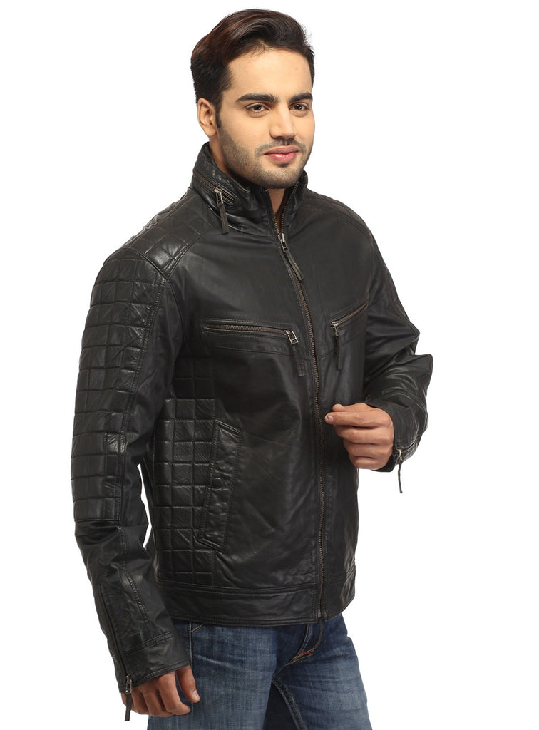 Sporty Boxy Quilted Casual  Men Leather Jacket , Men Jacket - CrabRocks, LeatherfashionOnline  - 4