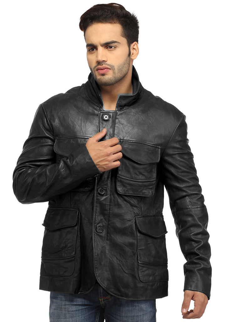 Mens Casual Patch Pockets Parker Leather Jacket S / Leather / Black, Men Jacket - CrabRocks, LeatherfashionOnline  - 1