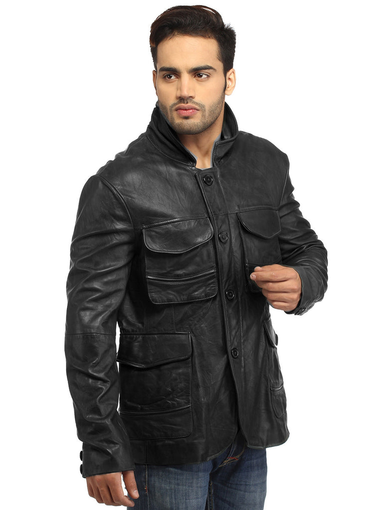 Mens Casual Patch Pockets Parker Leather Jacket , Men Jacket - CrabRocks, LeatherfashionOnline  - 4