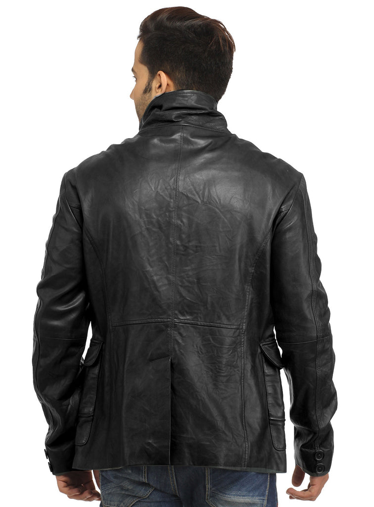Mens Casual Patch Pockets Parker Leather Jacket , Men Jacket - CrabRocks, LeatherfashionOnline  - 5