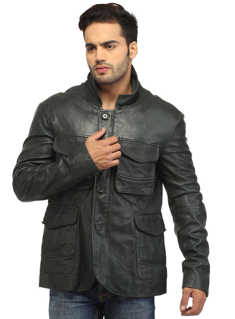 Mens Casual Patch Pockets Parker Leather Jacket S / Leather / Ocean Grey, Men Jacket - CrabRocks, LeatherfashionOnline  - 2