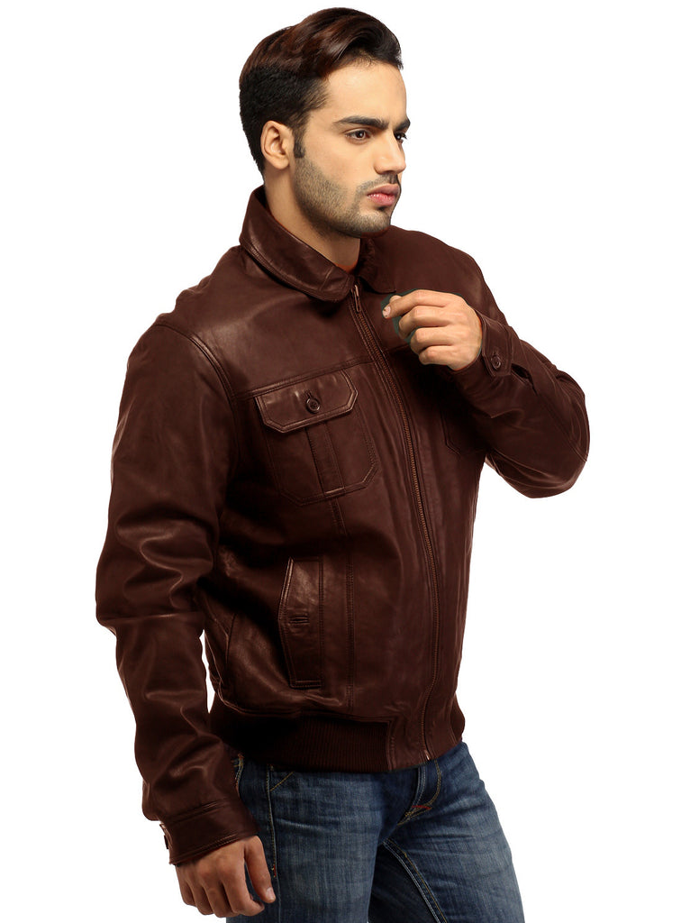 Men Real Leather Ribbed  Biker Look Bomber Jacket , Men Jacket - CrabRocks, LeatherfashionOnline  - 2