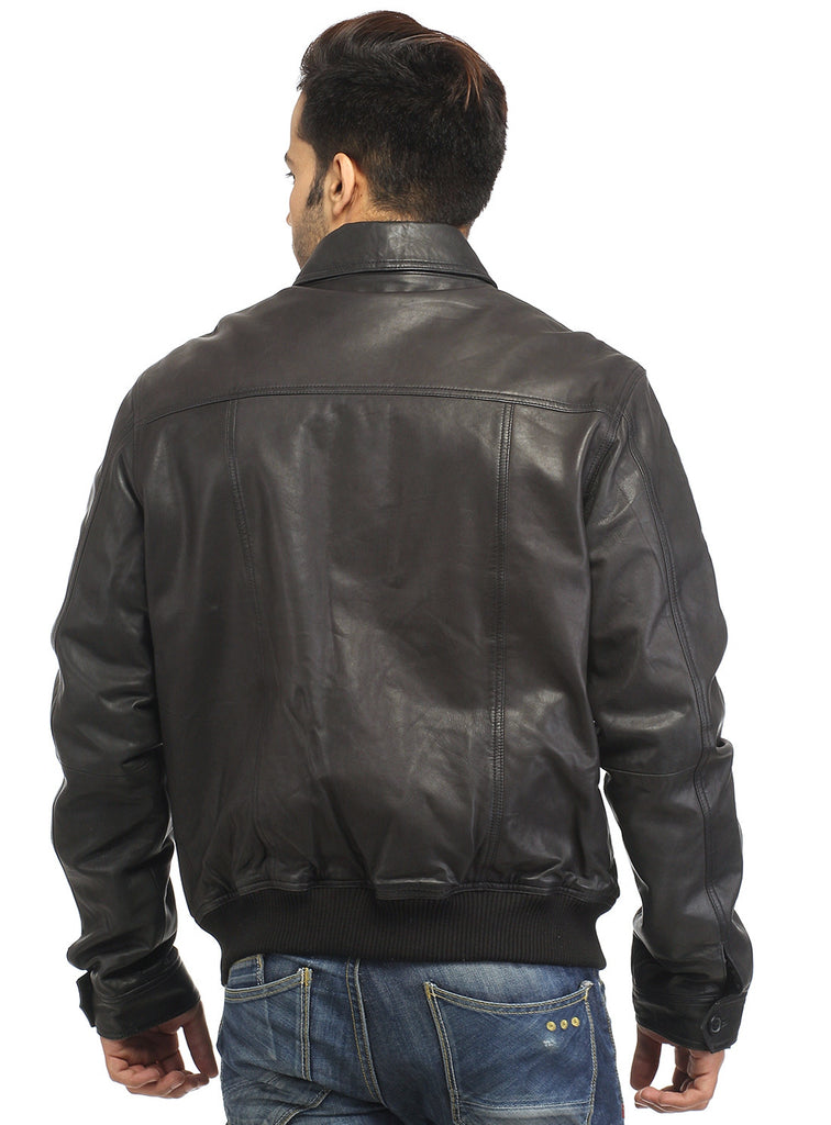 Men Real Leather Ribbed  Biker Look Bomber Jacket , Men Jacket - CrabRocks, LeatherfashionOnline  - 6