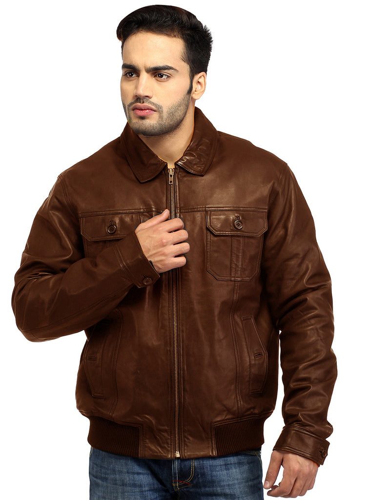 Men Real Leather Ribbed  Biker Look Bomber Jacket S / Leather / Brown, Men Jacket - CrabRocks, LeatherfashionOnline  - 1