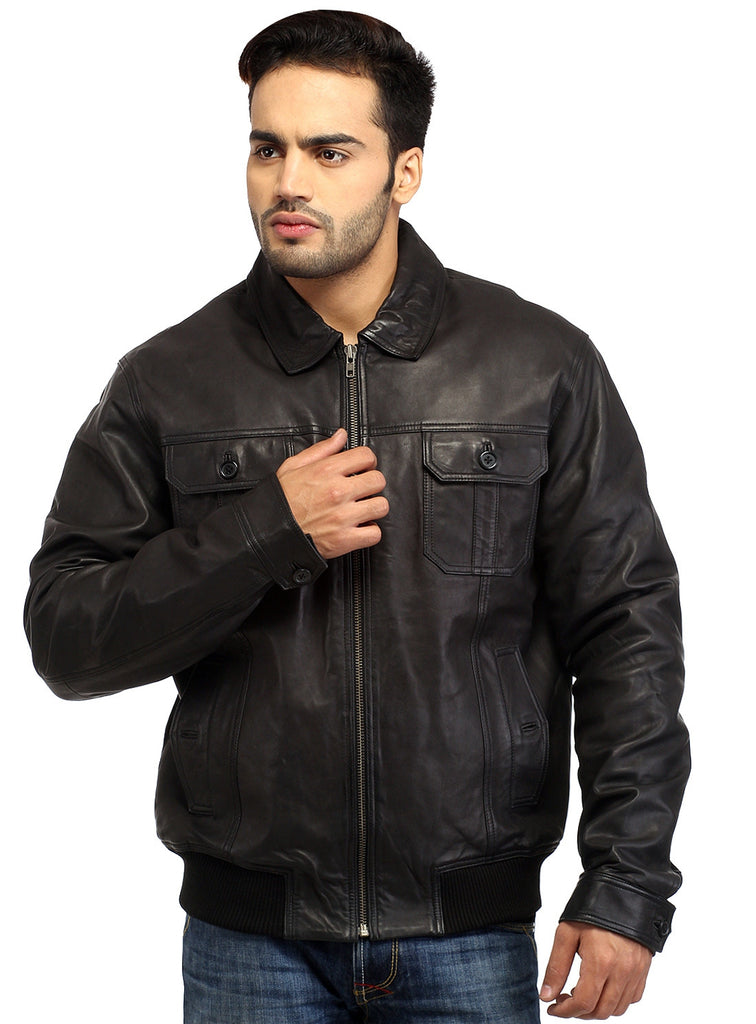 Men Real Leather Ribbed  Biker Look Bomber Jacket S / Leather / Black, Men Jacket - CrabRocks, LeatherfashionOnline  - 4