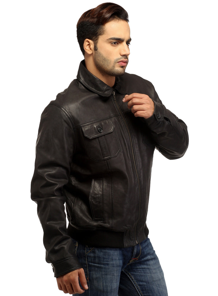 Men Real Leather Ribbed  Biker Look Bomber Jacket , Men Jacket - CrabRocks, LeatherfashionOnline  - 5