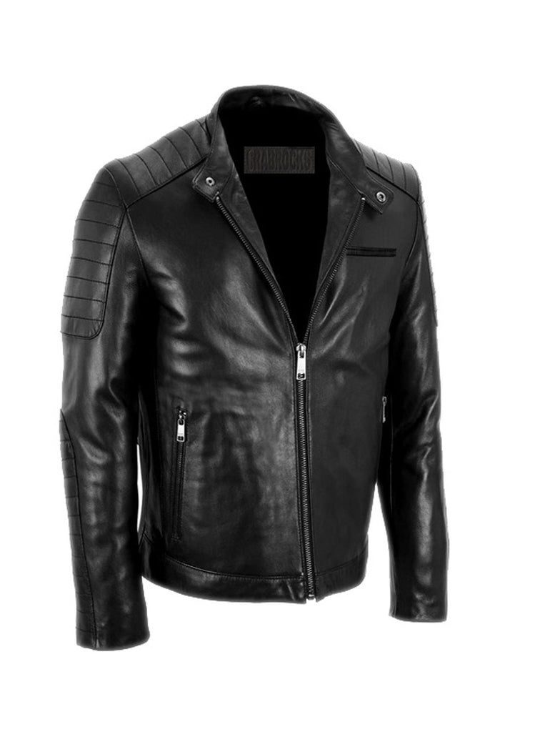 Men's Leather Padded Washed Biker Hot Seller Black / S / Leather, Men Jacket - CrabRocks, LeatherfashionOnline  - 4