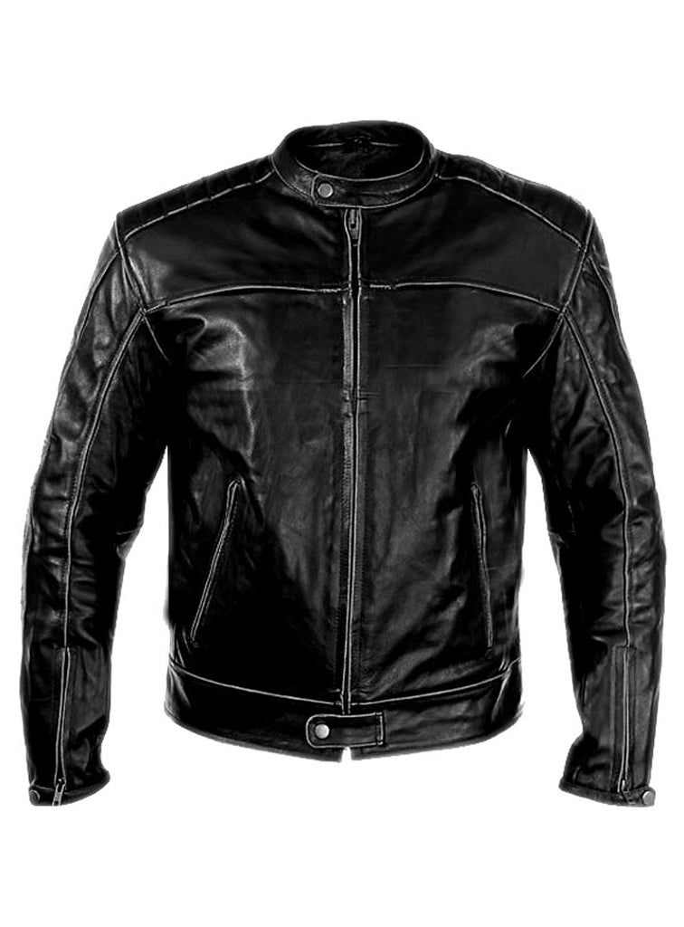 Men's Washed Basic Leather Biker Jacket washed effect Ash Grey / S / Leather, Men Jacket - CrabRocks, LeatherfashionOnline  - 1