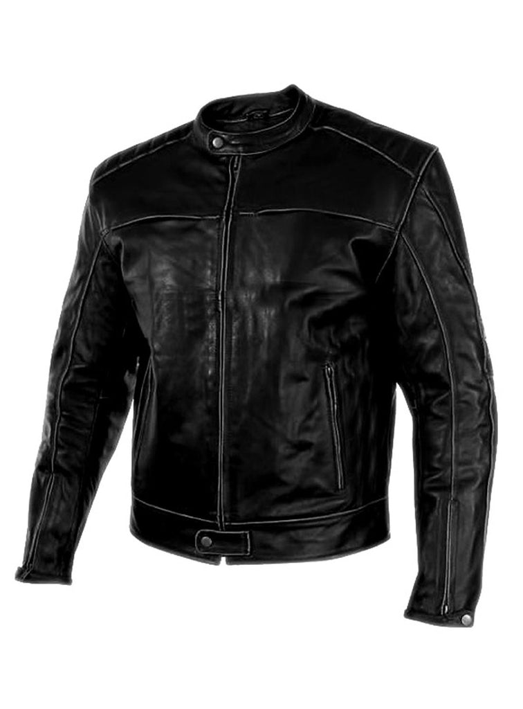 Men's Washed Basic Leather Biker Jacket washed effect , Men Jacket - CrabRocks, LeatherfashionOnline  - 2