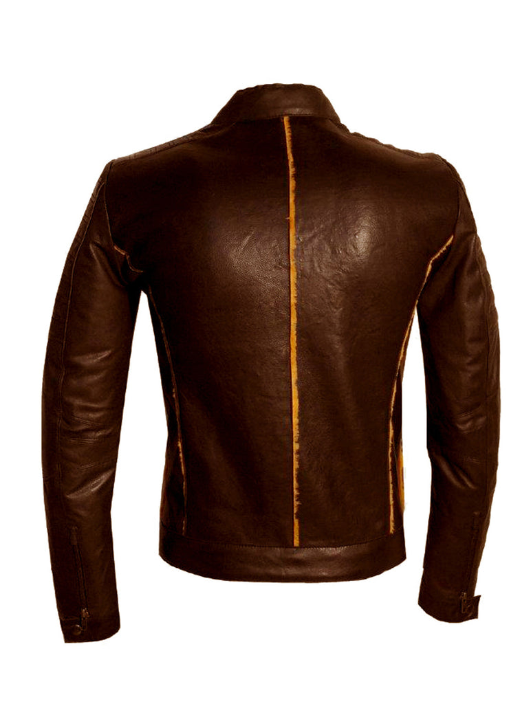 Men's Real Leather Bonded with Faux Mink Motorcycle Jacket -Hot seller , Men Jacket - CrabRocks, LeatherfashionOnline  - 5