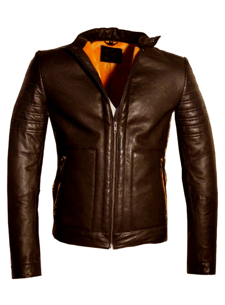 Men's Real Leather Bonded with Faux Mink Motorcycle Jacket -Hot seller Brown / M / Leather, Men Jacket - CrabRocks, LeatherfashionOnline  - 3