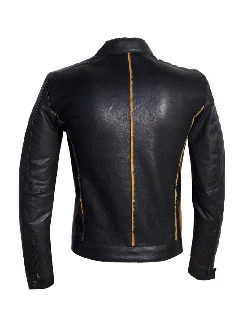 Men's Real Leather Bonded with Faux Mink Motorcycle Jacket -Hot seller , Men Jacket - CrabRocks, LeatherfashionOnline  - 4