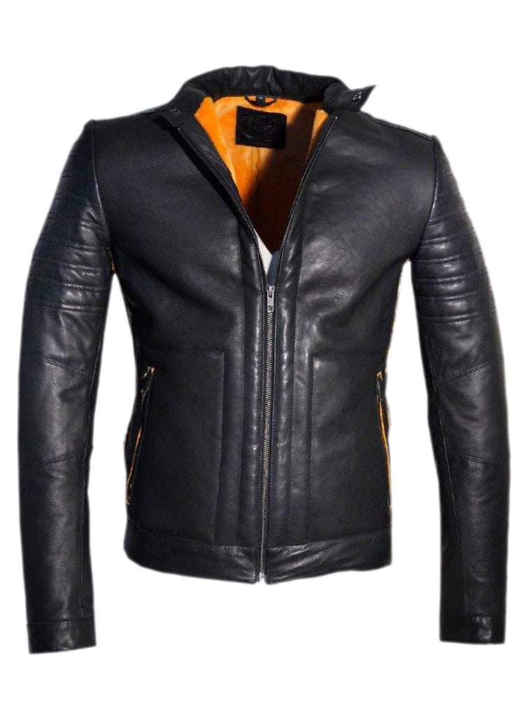 Men's Real Leather Bonded with Faux Mink Motorcycle Jacket -Hot seller , Men Jacket - CrabRocks, LeatherfashionOnline  - 2