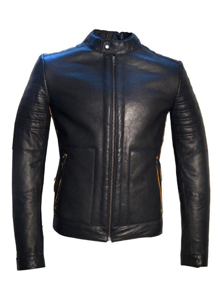 Men's Real Leather Bonded with Faux Mink Motorcycle Jacket -Hot seller Black / M / Leather, Men Jacket - CrabRocks, LeatherfashionOnline  - 1