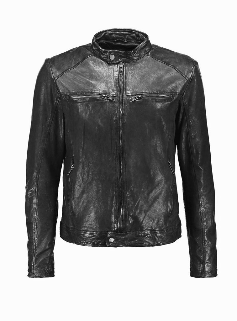 Leather Washed Vintage Man Jacket with Crinkled wash